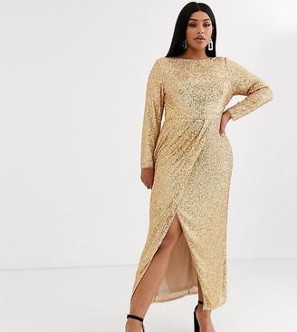 TFNC Plus Plus wrap maxi dress in gold sequin