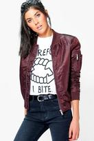 Boohoo Harriet Bomber With Contrast Lining