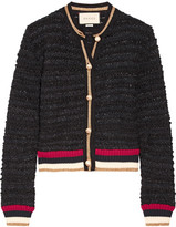 Gucci Ribbed Knit-trimmed Bouclé-tweed Cardigan - Black