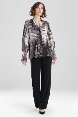 Natori Abstract Tapestry Silky Soft Blouse