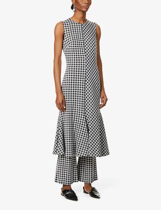 Rosetta Getty Gingham flared stretch-woven maxi dress