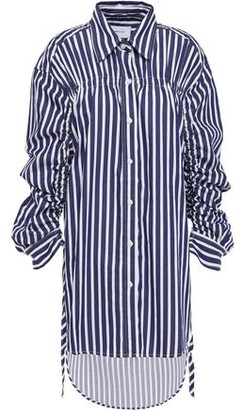 Current/Elliott The Cinched Boyfriend Ruched Cotton-poplin Shirt