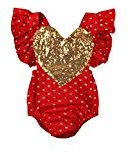 Fheaven Newborn Infant Baby Girl Romper Bodysuit Jumpsuit Sequins Love Heart Outfits Sleeveless Backless Bodysuit (12/18M, Red)