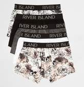 River Island Mens Big and Tall Black skull hipsters multipack
