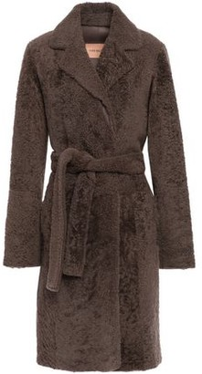 Yves Salomon Belted Shearling Coat