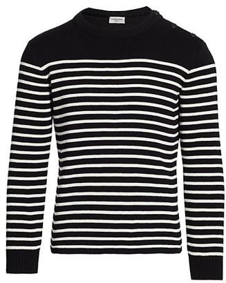 Saint Laurent Button-Shoulder Striped Sweater