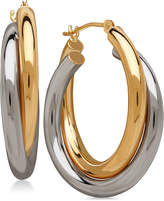 Macy's Two-tone Double Overlapped Hoop Earrings in 14k Gold and 14k White Gold