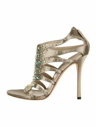 Gucci Striped Crystal Embellishments Sandals Grey
