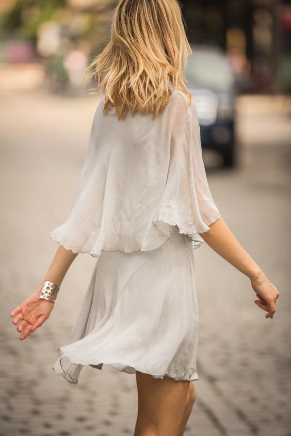Line & Dot Silver Chiffon Dress