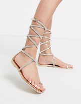 Simmi Shoes Simmi London Averie embellished ankle tie flat sandals in rose gold