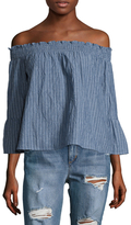 Lucca Couture Stripe Cotton Off The Shoulder Blouse