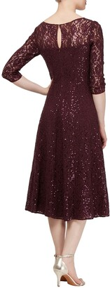 Slny Lace & Sequin Tea Length Dress
