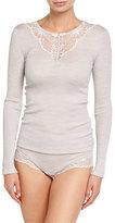 Hanro Seraphina Long-Sleeve Wool-Silk Blend Top, Marble
