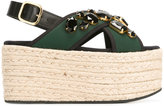 Marni espadrille platform crossover sandals - women - Raffia/Leather/Polyamide/glass - 37