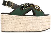 Marni espadrille platform crossover sandals - women - Raffia/Polyamide/metal/rubber - 36