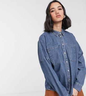 Only oversized denim shirt in blue