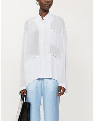 Acne Studios Oversized semi-sheer crepe blouse