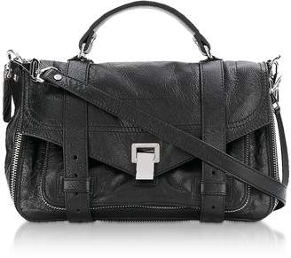 Proenza Schouler Black PS1+ Tiny Zip-Paper Leather Satchel Bag