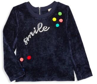 Hannah Banana Little Girl's Sequin Rainbow Pom-Pom Velvet Sweater
