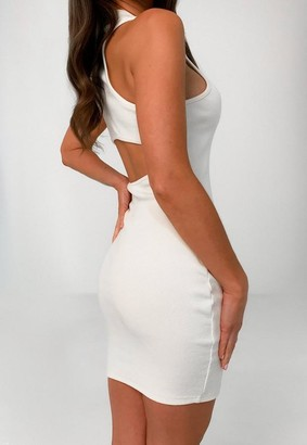 Missguided Cream Rib Racer Neck Cut Out Mini Dress