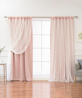 Best Home Fashion Dusty Pink Tulle-Overlay Blackout Curtain Panel Set