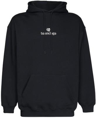 Balenciaga Logo Embroidery Cotton Hoodie
