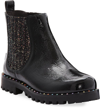 Sophia Webster Lara Rainbow Studded Patent Leather Boots, Baby/Toddler/Kids