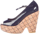 Chanel Quilted Peep-Toe Wedges
