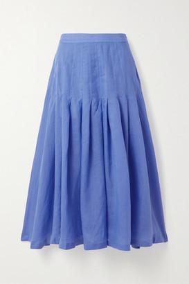 Three Graces London Elisha Pleated Ramie Midi Skirt - Blue