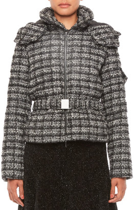 Emporio Armani Boucle Tweed Puffer Coat with Belt