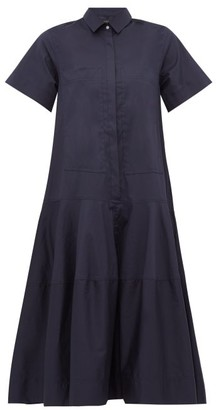 Lee Mathews - Elsie Cotton-poplin Shirtdress - Womens - Navy