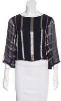 Alice + Olivia Silk Embellished Blouse