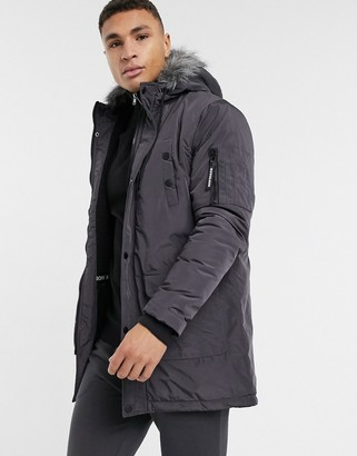 Soul Star parka jacket in charcoal-Grey