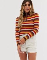 Pieces stripe knit zip up top