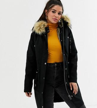 Asos DESIGN Petite parka with detachable faux fur liner-Black