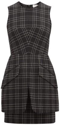 Alexander McQueen Checked Virgin-wool Mini Dress - Black White