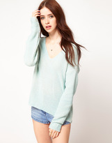 Vila Sweater With Deep V Neck