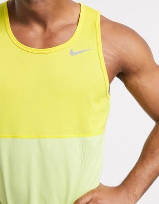 Nike Running Breathe vest in yellow