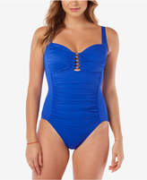 Swim Solutions Shirred Tummy-Control One-Piece Swimsuit, Created for Macy's