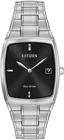 Citizen Black & Silvertone Tonneau Bracelet Watch - Men