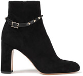 Thumbnail for your product : Valentino Garavani Rockstud Leather-trimmed Suede Ankle Boots