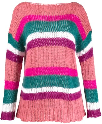 Semi-Couture Boat Neck Striped Jumper