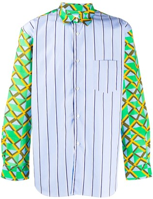 Comme des Garcons Contrast-Panel Abstract Print Shirt