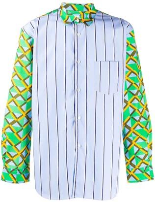 Comme des Garçons Shirt Contrast-Panel Abstract Print Shirt