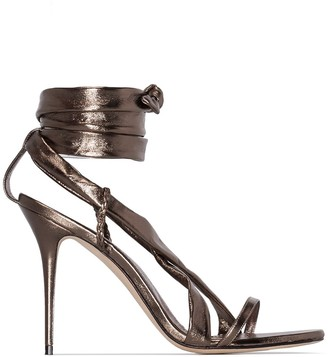 Manolo Blahnik Metallic 105mm ankle tie sandals