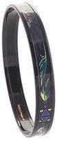 Hermes Black Metal Printed Enamel Narrow Bangle Bracelet