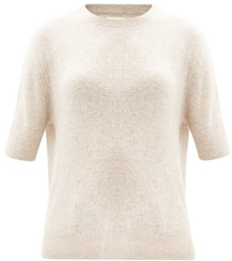 KHAITE Dianna Short-sleeved Cashmere-blend Sweater - Beige