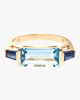 Yi Collection Aquamarine And Sapphire East West Ring
