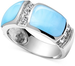Marahlago Larimar (7 x 10mm) & White Topaz (1/3 ct t.w.) Statement Ring in Sterling Silver