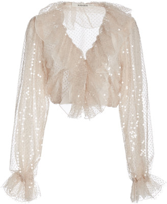 Rodarte Ruffled Sequined Organza Blouse